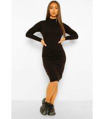gebreide jurk met naad details, black