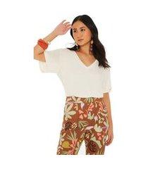 t-shirt maria valentina decote v detalhe renda off-white