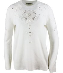 ermanno scervino long-sleeved crewneck sweater in cashmere with embroidery