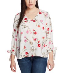 cece plus size printed tie-sleeve top