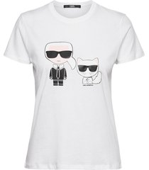 ikonik karl & choupette tee t-shirts & tops short-sleeved vit karl lagerfeld