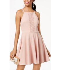 city studios juniors' crochet crepe fit & flare dress