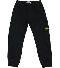 stone island junior fleece pants in black