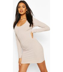 recycled scoop neck rib dress, light grey