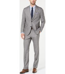 dockers men's modern-fit light gray sharkskin suit