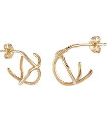 'kintsugi' abstract 10k yellow gold hoop earrings