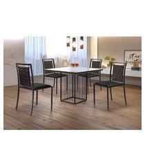 conjunto de mesa de jantar hera com tampo de vidro mocaccino e 4 cadeiras grécia i couríssimo preto e grafite