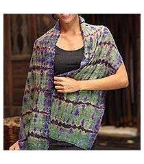 silk scarf, 'green wilderness' (thailand)