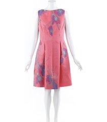 lela rose floral embroidered silk dress pink/floral print sz: l
