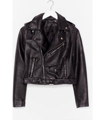 womens into moto sports faux leather jacket - black
