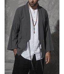 cárdigan de abrigo retro con cordones liso casual de estilo japonés para hombre