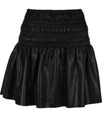 self portrait faux leather shirred mini skirt