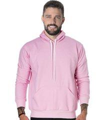 blusa moletom liso suffix com capuz bolso canguru blusão rosa