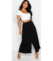 high waist pleated wide leg culottes, black