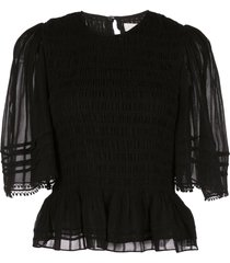 isabel marant étoile janette sheer sleeved t-shirt - black