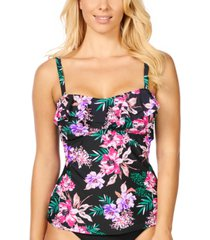 island escape in your dreams tahiti printed ruffled tankini, created for macy's women's swimsuit