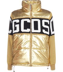 gcds band-logo quilted nylon and knit down jacket