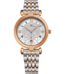 alexander watch a202b-03, ladies quartz small-second date watch with rose gold tone stainless steel case on rose gold tone stainless steel bracelet