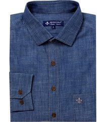 camisa dudalina manga longa um bolso medium blue masculina (jeans medio, 6)