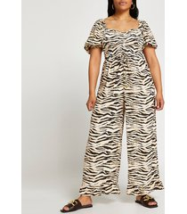 river island womens plus beige zebra print jumpsuit