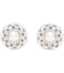 alessandra rich crystal earrings central pearl