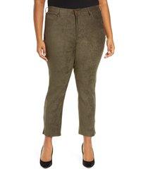 plus size women's nydj alina stripe side slit stretch skinny jeans, size 22w - green