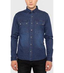 camisa ellus denim azul - calce regular