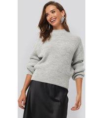 na-kd balloon sleeve ribbed sweater - grey