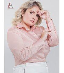 camisa social plus size personalizada rosê