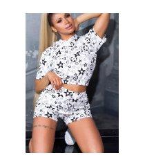 trendy set shorts+crop t-shirt met capuchon wit