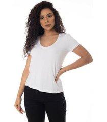 t-shirts daniela cristina gola v profundo 10269 12830 branco - branco - g - feminino