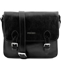 tuscany leather tl141288 tl postman - borsa messenger in pelle nero