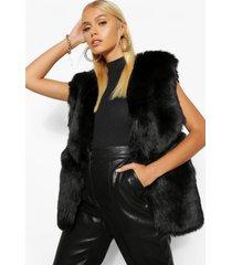 panelled faux fur gilet, black