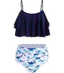 fish print ruched flounce bikini swimsuit