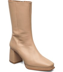 lisa sand leather shoes boots ankle boots ankle boot - heel beige flattered