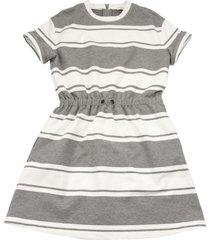 brunello cucinelli striped cotton fleece dress with monili