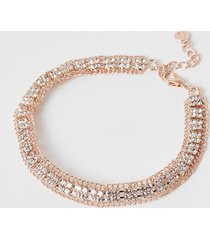 river island womens rose gold colour diamante paved square anklet