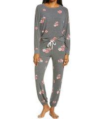 women's honeydew intimates star seeker brushed jersey pajamas, size small - black