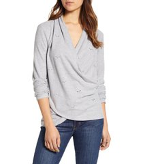women's 1.state embellished cross front top, size x-small - grey