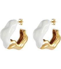 'feminine waves' contrast enamel accent twist hoop earrings