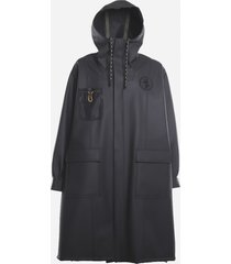 fendi rubber-effect parka with mesh inserts