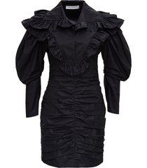 philosophy di lorenzo serafini curled dress in black cotton poplin
