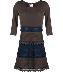 chanel pre-owned 2006 crochet knitted dress - brown