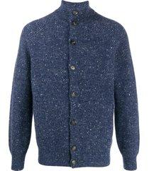 brunello cucinelli speckled funnel-neck cardigan - blue