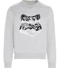 maison kitsuné big fox embroidery sweatshirt
