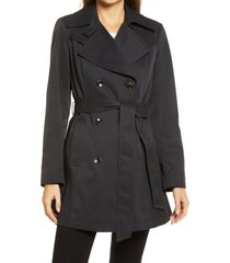 women's via spiga double breasted belted raincoat, size x-large - black