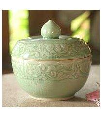 celadon ceramic jar, 'lotus pool' (thailand)