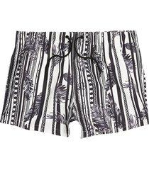 river island mens white feather print slim fit swim shorts