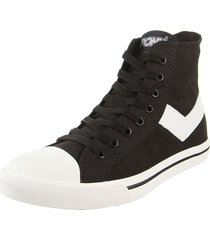 zapatilla negra  pony shooter hi canvas
