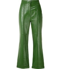 eva wide-leg leather trousers - green